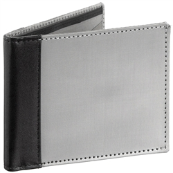 bi-fold wallet - black/stainless steel