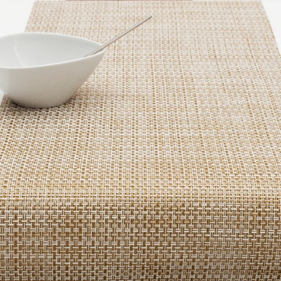 Arango Basketweave Table Runner 14x72 Whitegold